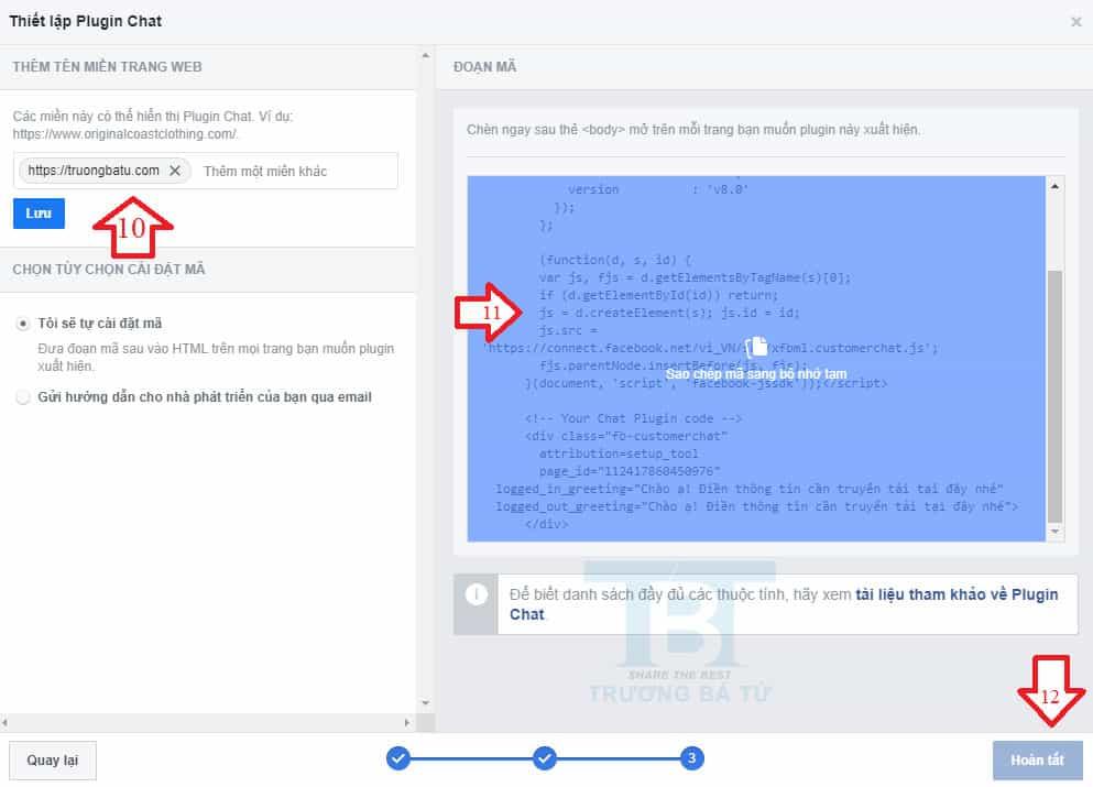 thiết lập tên miền vào nút facebook chat