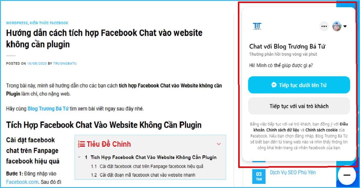tích hợp Facebook Chat vào Website